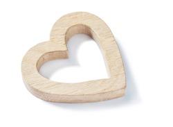 oak wood heart isolated on white