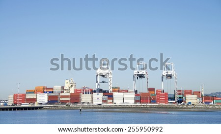 OAKLAND, CA - FEBRUARY 24, 2015: The Port of Oakland Outer Harbor view from Middle Harbor park, Thousands of Shipping containers line the docks waiting transport via ship, railway and trucks.
