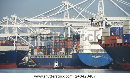 OAKLAND, CA - JANUARY 28, 2015: Liberia based Cargo Ship BOX TRADER loading at the Port of Oakland. Oakland\'s cargo volume makes it the fifth busiest container port in the United States.