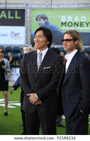 OAKLAND, CA - SEP 19: Hideki Matsui; Brad Pitt at the world premiere of Columbia Pictures' 'Moneyball' at the Paramount Theater of the Arts on September 19, 2011 in Oakland, California