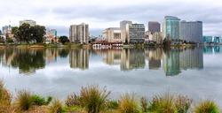 Oakland California Lake Merritt waterfront and skyline view