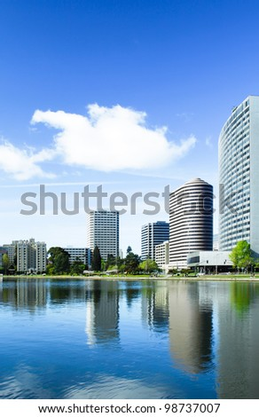 Oakland, California, view across Lake Merritt with beautiful reflections of the buildings on the water's edge