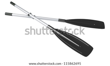 Oars isolated at white background. 3d render illustration