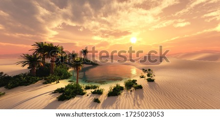 Oasis at sunset in a sandy desert, a panorama of the desert with palm trees, 3d rendering Foto stock ©