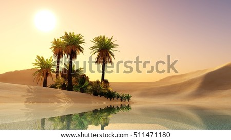 Oasis in the desert sand. Palm trees and a lake. 3d rendering.  Foto stock ©