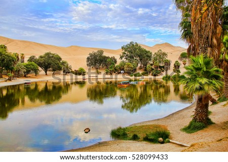 Oasis of Huacachina in the morning, Ica region, Peru.