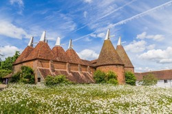 Oast house with flower field in the front in Sussex, UK
