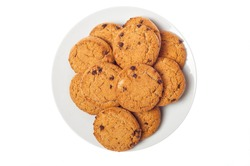 Oat cookies in plate isolated on white background, top view. Sweet bakery products. Round cookies in a plate.