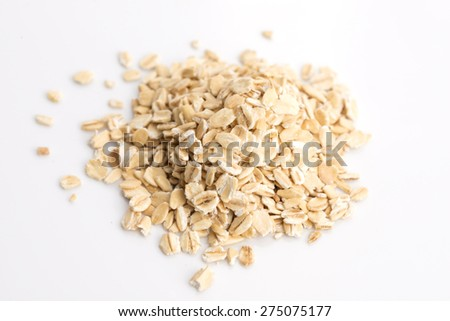 Oat flakes pile on white background #275075177