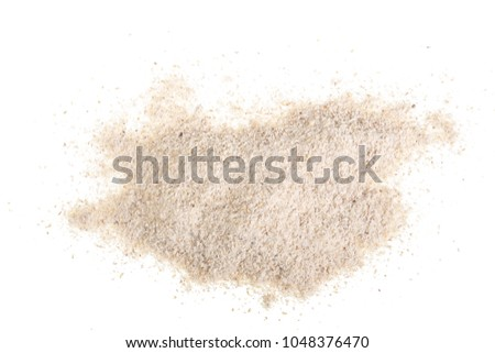 oat flour isolated on white background. Top view. Flat lay #1048376470