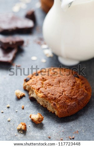 Oatmeal and chocolate cookies - stock photo
