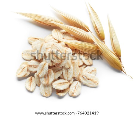 oatmeal and its crops isolated on white #764021419