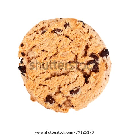 oatmeal chocolate chip cookies, isolated on white