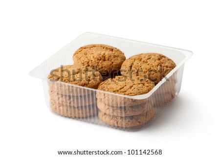 Oatmeal cookies in retail package. Isolated on a white.