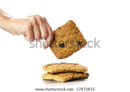 Oatmeal cookies in the woman hands - stock photo
