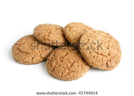 Oatmeal cookies on a white background - stock photo