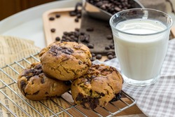 Oatmeal cookies on table. Chocolate chip cookies. Healthy food and drink and natural diet food. Cookie Almond and Cashew nuts.