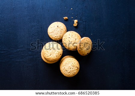 Oatmeal cookies on wood table
