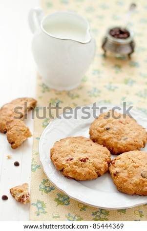 oatmeal cookies with chocolate and cherries