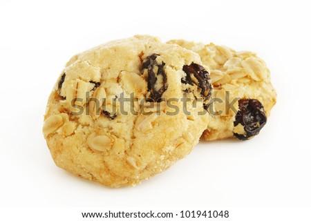 Oatmeal cookies with raisin - stock photo