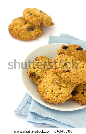 Oatmeal cookies with raisins on a plate