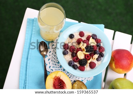Oatmeal in plate with berries on napkin on table on grass background
