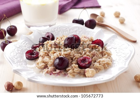 oatmeal porridge with cherry and nut