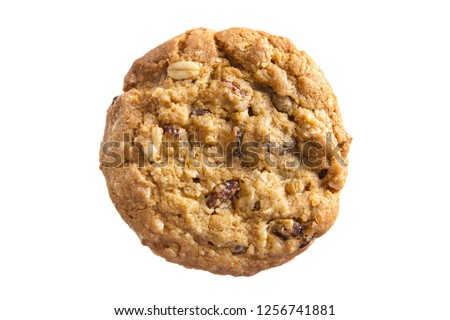 Oatmeal Raisin Cookie isolated on a white background.