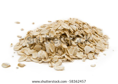 Oats flakes isolated on the white