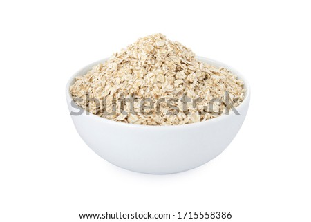 Oats, oats in white bowl, on white background (Tr- yulaf) Stok fotoğraf ©