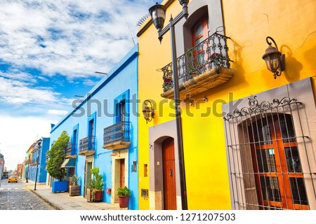 Oaxaca city, Scenic old city streets and colorful colonial buildings in historic city center