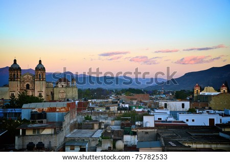 Oaxaca city view during sunset
