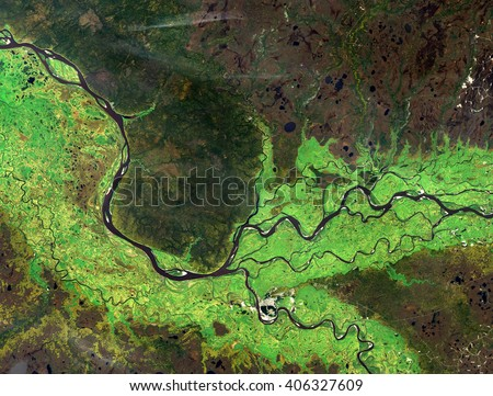 Ob river (summer) from Landsat satellite. Elements of this image furnished by NASA.