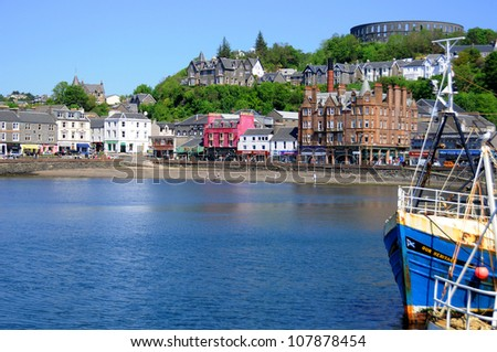 OBAN,SCOTLAND-MAY 27: The beautiful city of Oban in Argyll, Scotland, UK May 27 2012. Oban is a resort town within the Argyll and Bute council area of Scotland. - stock photo