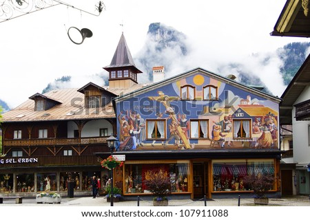 OBERAMMERGAU, GERMANY - JUNE 09: House decorated with frescoes in Oberammergau. June 09, 2012 Oberammergau,Germany.   Houses in this town are decorated with frescoes with scenes from fairy tales.