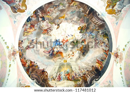 OBERAMMERGAU, GERMANY-JUNE 10:St Peter St Paul Church. Joseph Schmuzer led the construction of the churh.The ceiling and wall frescoes were made by Matthew Guenthe; June 10,2012 Oberammergau,Germany