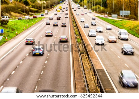 Oberhead view background of UK Motorway Road