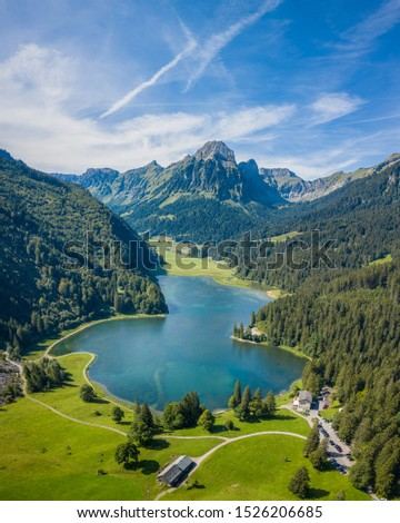Obersee,Naefels - Switzerland (drone vertical panorama)