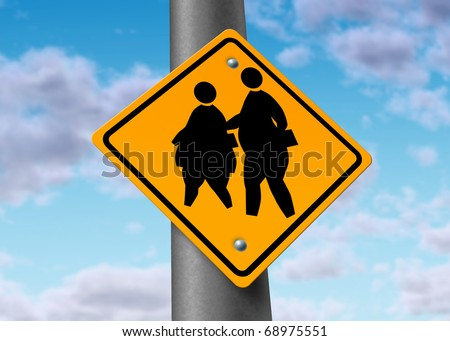 obese fat school children obesity overweight kids diet crossing sign risks - stock photo
