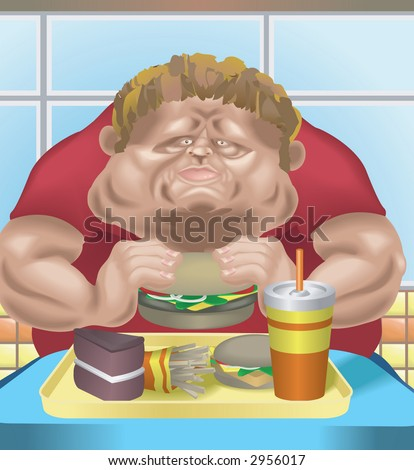 Obese man in fast food restaurant An obese man in fast food restaurant consuming junk food.  Raster version
