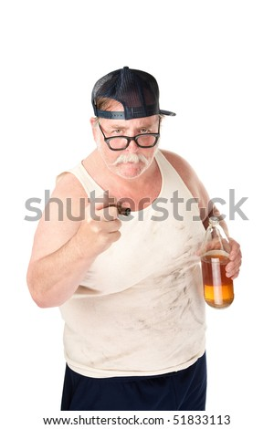 Obese man in tee shirt on white background