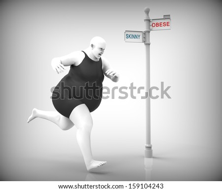 obese man running