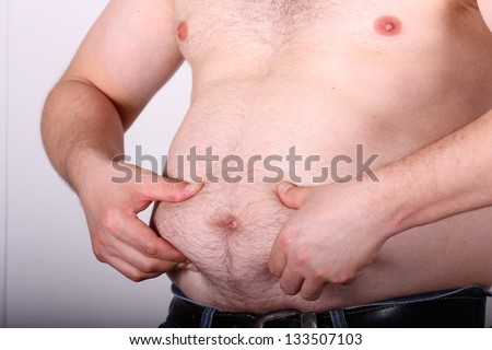 obese mans belly