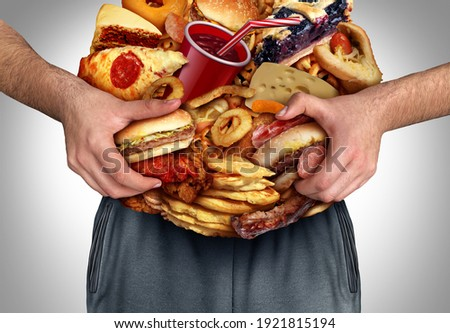 Obesity And Nutrition or unhealthy diet as a front view of a fat overweight person with the stomach made from junk foodnd high cholesterol eating lifestyle with 3D illustration elements. Сток-фото ©