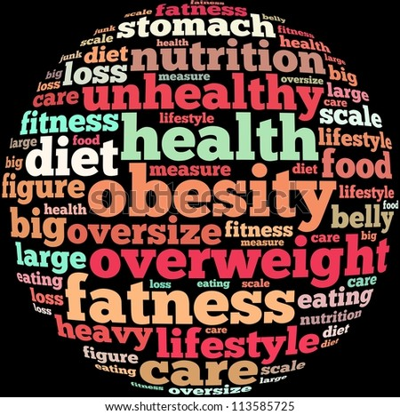 obesity info-text graphics and arrangement concept on black background (word cloud)