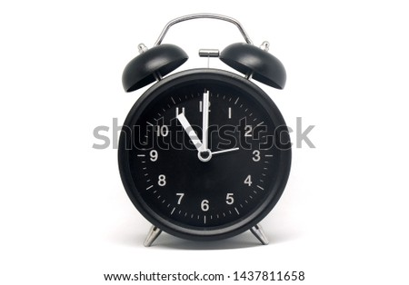 Object - Black Table Clock Vintage patterns isolated white background - 11 O'clock ( Eleven ) - Early or Before Midnight or Noon                                #1437811658