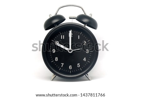Object - Black Table Clock Vintage patterns isolated white background - 10 O'clock ( Ten ) - Early or Before Midnight or Noon
