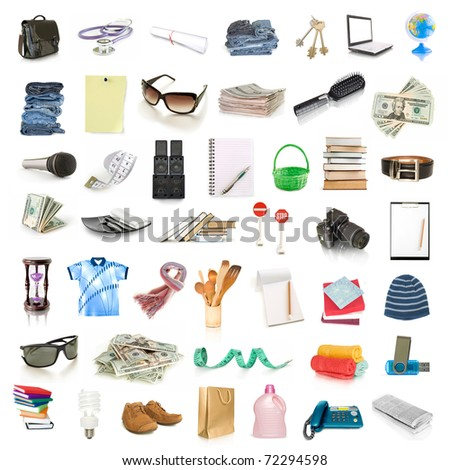 object collection isolated on white