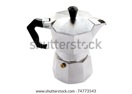 object on white - coffee maker close up
