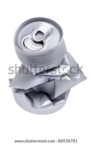 object on white - Crumpled beverage can